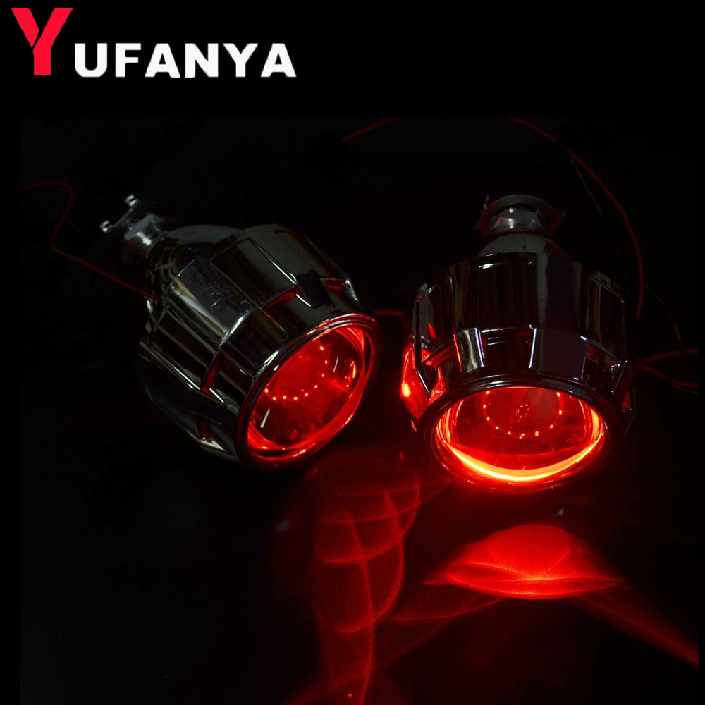 2.5 inch bixenon hid projector lens with shrouds with demon eyes fit for H1 H4 H7 motorcycle car headlight headlamp car styling safego 2 5 inch projector lens mask shroud with double angel eyes for car hid headlight headlamp projector lens for h1 h7 h4