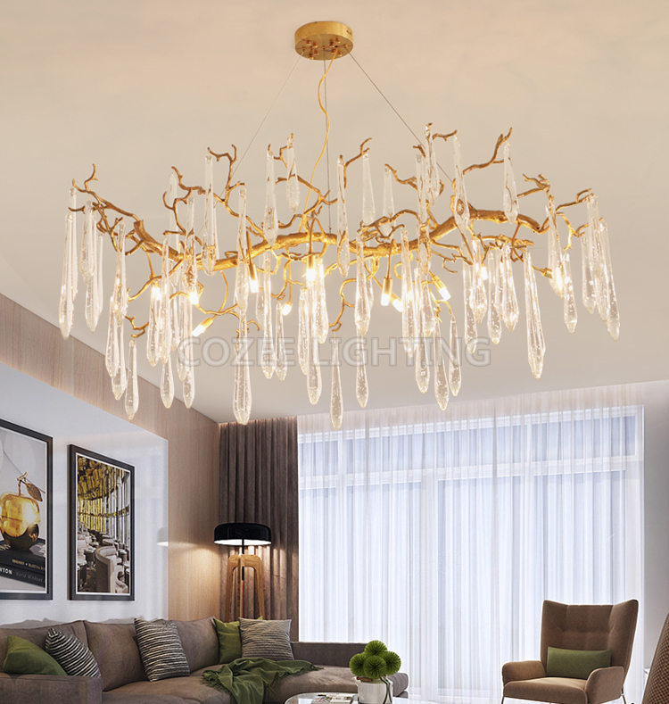 Modern Brass Chandeliers Colored Glass Drops Chandelier Light Home Lighting Hotel Crystal Chandeliers LED Copper Chandelier Lamp