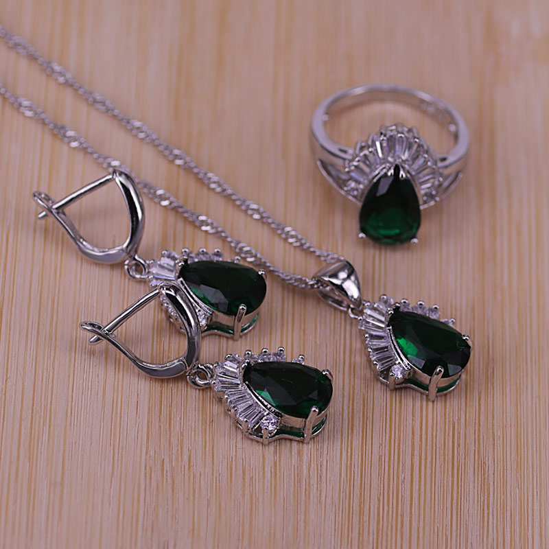 9 Colors Wholesale Austrian Crystal 925 Silver Costume Jewelry Sets Water Drop Pendant Necklace Drop Earring Jewellery Women