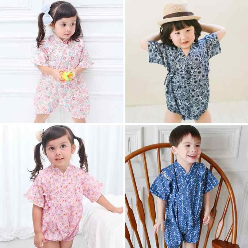 Кимоно, одежда для малышей, детская одежда в японском стиле, комбинезон для девочек, Ретро Халат, Униформа, одежда, костюм с принтом для младенцев, унисекс, Y531