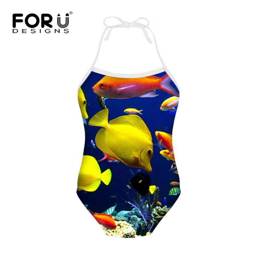 c12973a0073 FORUDESIGNS Children Swimsuits for Girls Fish Shark Dolphin Printing Kids One  Piece Swimwear Bathing Suit for Summer Beach Wear