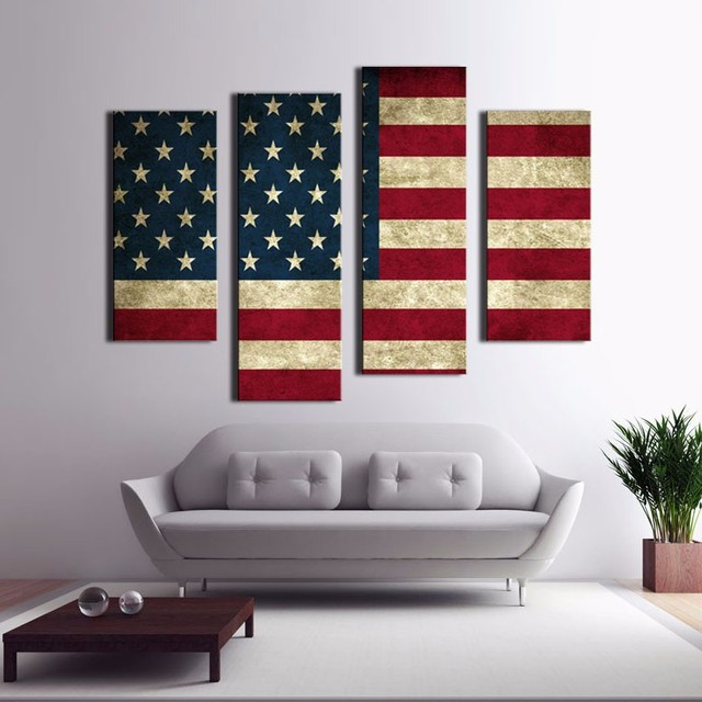 4 Panel American Usa United States Of America Flag Canvas Painting Wall Art Picture Home Decor