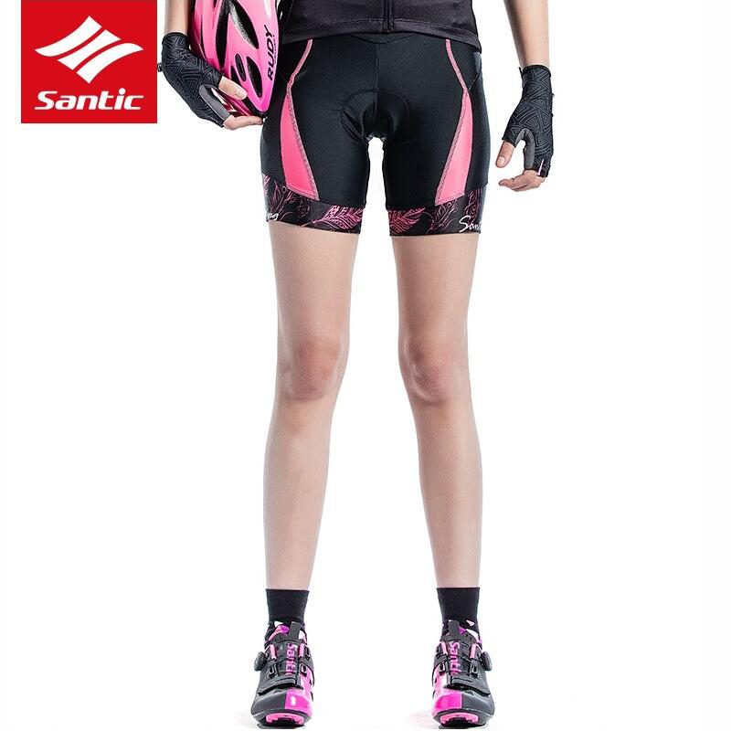 Santic Women Cycling 1/4 Padded Shorts Coolmax 4D Pad Shockproof Imported CARVICO Fabric Shockproof Riding Short Pant