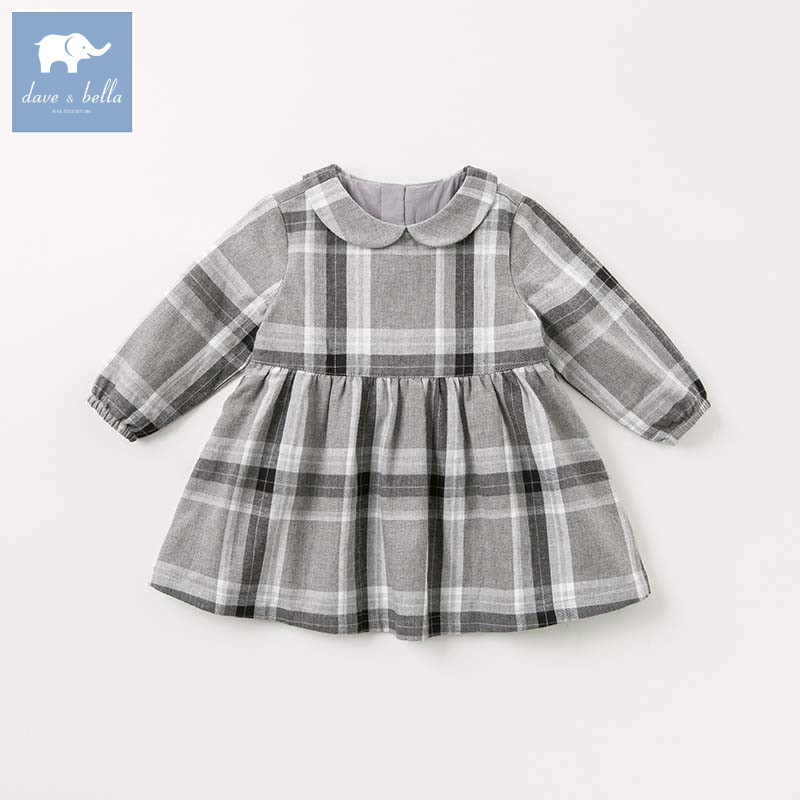DB8982 dave bella autumn infant baby girl's fashion plaid dress kids birthday party dress toddler children clothes db7266 dave bella baby dress girls infant toddler clothing children birthday party clothes kids summer lolita dress
