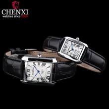Chenxi marca del reloj de lujo de mujer de cuarzo relojes de los hombres de negocios reloj de pulsera femenina elegante fashion square relojes de pulsera de cuero