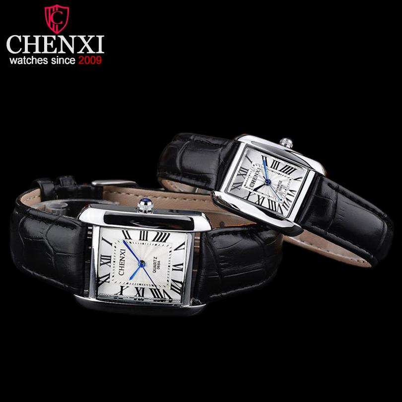 Prix pour CHENXI Marque De Luxe Couple Montre Femme Quartz Montres Hommes D'affaires Montre-Bracelet Femelle Élégant De Mode Carré En Cuir Montres