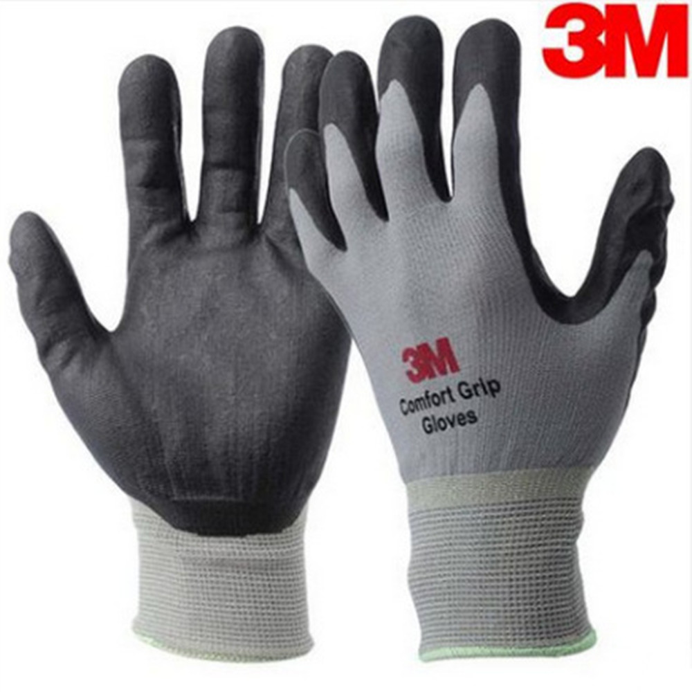 Genuine 3M Comfortable Non-slip Wear-resistant High Temperature Resistant Gloves Grey Protective Industrial Construction Gloves high quality hand tool gloves 12 pairs 700g cotton gloves wear resistant work thick gloves against high low temperature gloves