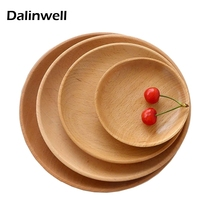 2017 Rubber Wood Hotel Tea Tray Circular Nature Wooden Color Dessert Dinner Plate Multi Specification Restaurant