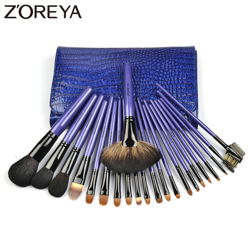 Zoreya Brand Top Quality 22pieces / set lady Make up borstar Kolinsky Hair Professional makeup Borstar för kvinnor Kosmetiska verktyg