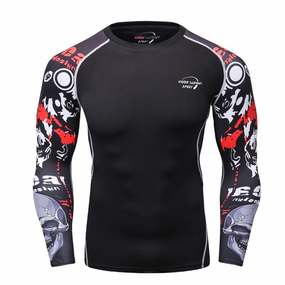 Men Sportswear Sport Suits long sleeved T shirt Fitness Rasgard Yoga Clothes Rashgard with Digital Print Sweat Quick Drying
