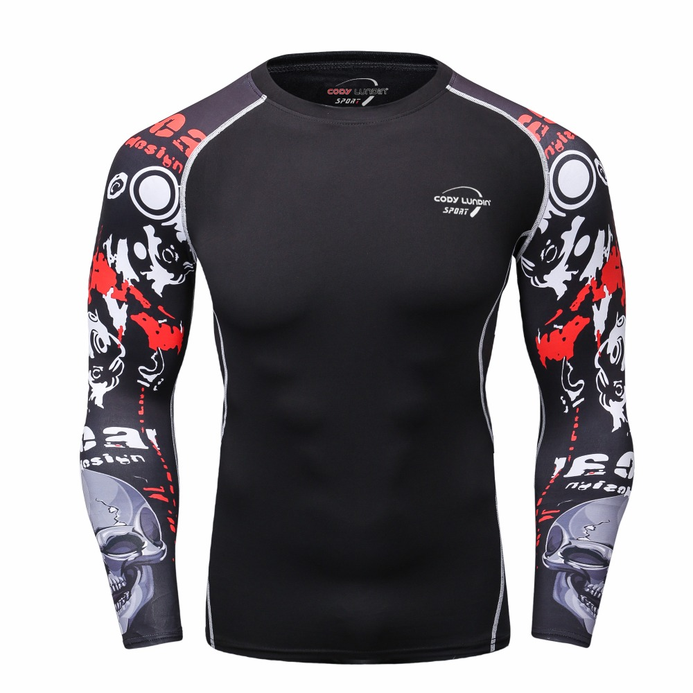 Men sports PRO long sleeved T shirt fitness rasgard yoga sport clothes digital printing sweat quick