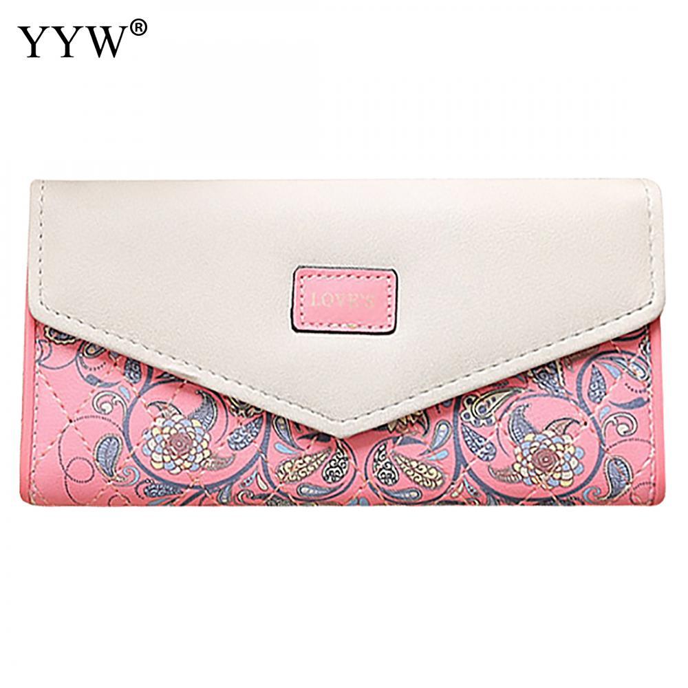 Fashion Envelop Women's Purse PU Leather Flower Wallet Women Snap Fastener Clutch Bag Large Capacity Lady Long Wallets 5 Colors