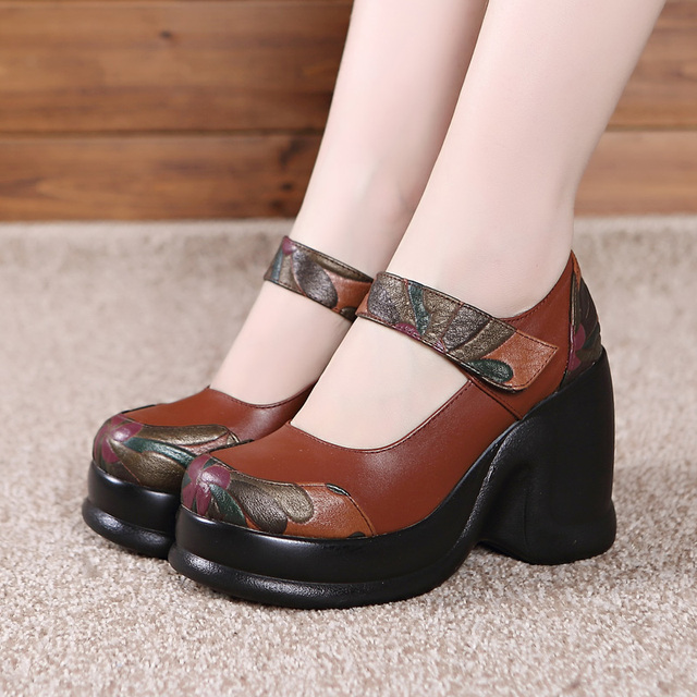 Ethnic style Autumn Women's Shoes Platform Wedge Pumps Genuine Leather Round Toes Women High Heel Shoes