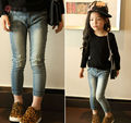 Free shipping 2015 Spring Autumn Fashion  Vintage Embroidery Star Children Skinny Jeans  Ripped   Girls Jeans Pencil Pants Blue