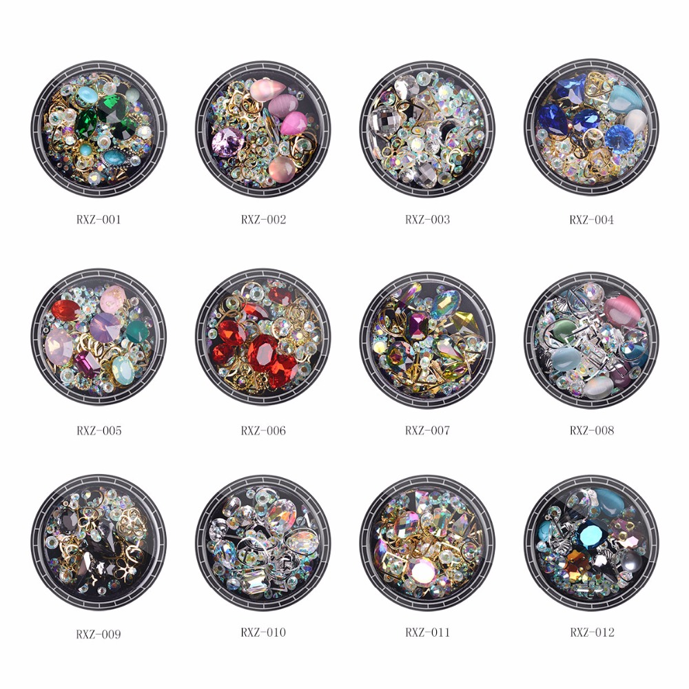 цена на RS NAIL Wholesale Rhinestone for led lamp gel 3D Glass Decorations for Nails Art Stickers nail polish Accessories