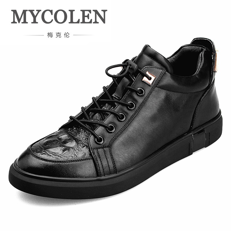 MYCOLEN 2018 New Genuine Leather Shoes Men Elastic Band Black High-Top Mens Casual Shoes Brand Sneakers Chaussure Cuir Homme pacento new brand leather men shoes fashion genuine leather business casual mens shoe flats large size 12 5 13 5 chaussure homme