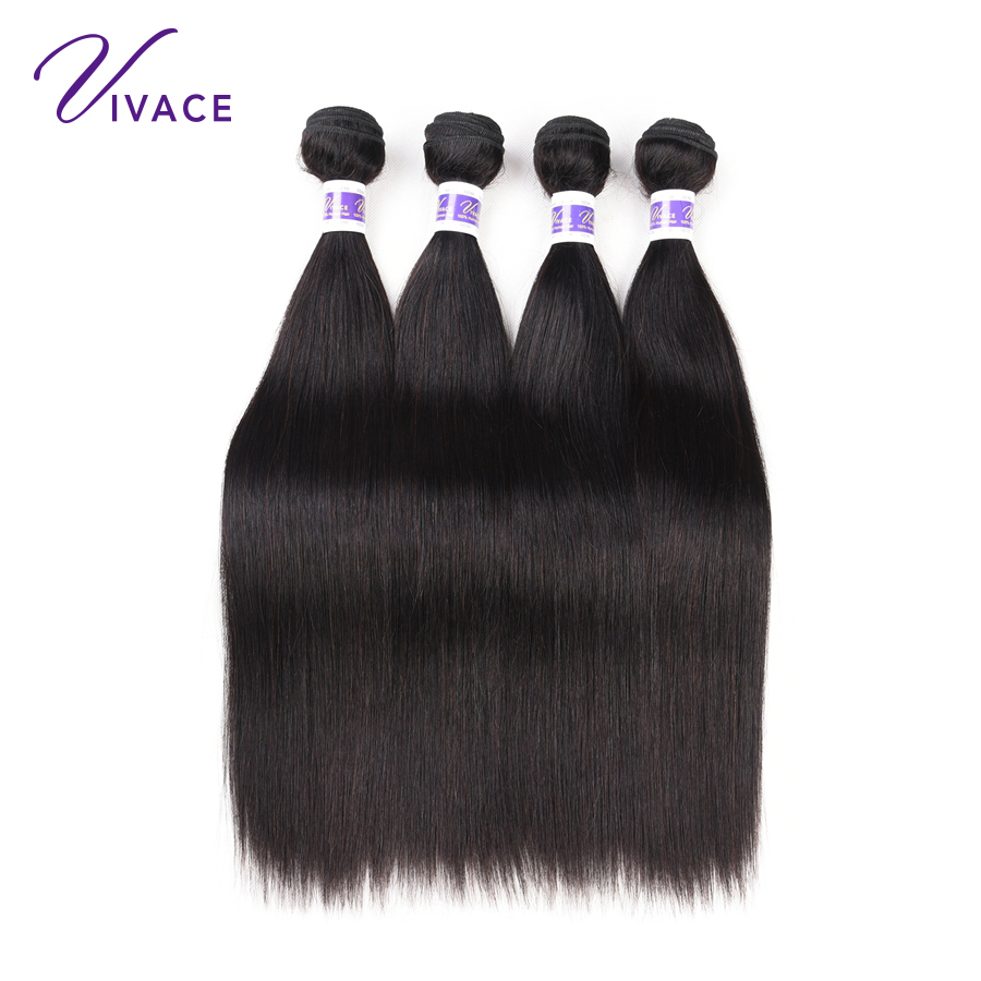Vivace Hair Brazilian Straight Human Hair 4 Bundles 100% Hair Weaves Natural Color Remy Hair Extension 10-28 inch