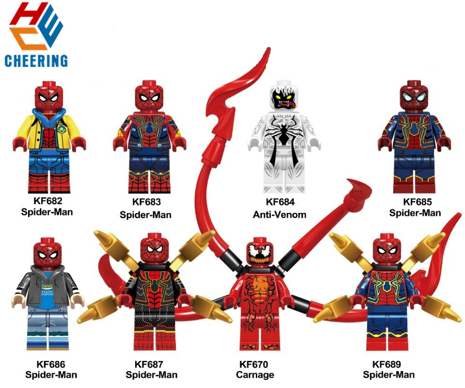 Single Sale Building Blocks Super Heroes Spider-Man Anti-Venom Carnage Education Figures Bricks Action Toys For Children <font><b>KF6062</b></font> image