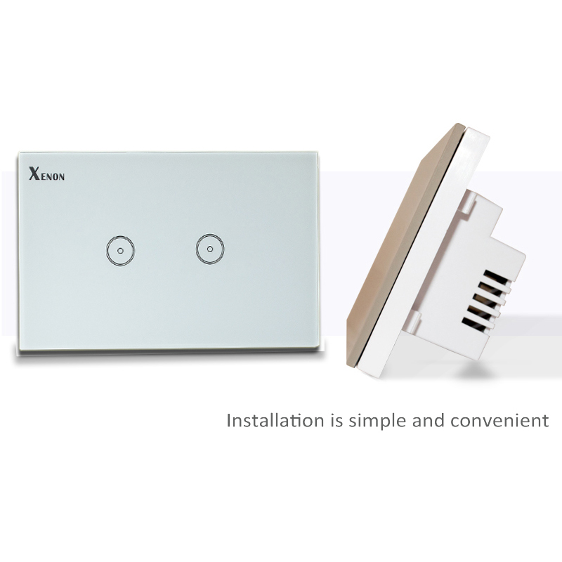 Work with Amazon Alexa Wall Switch Xenon Smart Home Wi-Fi Wall Switch Glass Panel 2-gang Ivory standard US Touch Light Switch manufacturer xenon wall switch 110 240v smart wi fi switch button glass panel 1 gang ivory white eu touch light switch panel