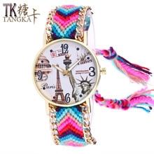 2017 fashion Women wrist watch Round Retro tower dial Wool hand weave tassel Leisure girl Bracelet clock ladies quartz watches