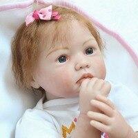 22 силиконовые возрождается куклы для девочек подарок настоящее Новорожденные глазу ткань тела куклы игрушки Bebe живые возрождается bonecas