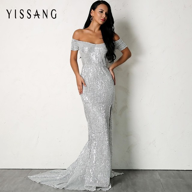 Yissang 2018 Red Elegant Sequined Long Dress Women Off Shoulder Evening  Party Club Maxi Summer Dresses High Slit Sexy Dress 25adb2be9a9c