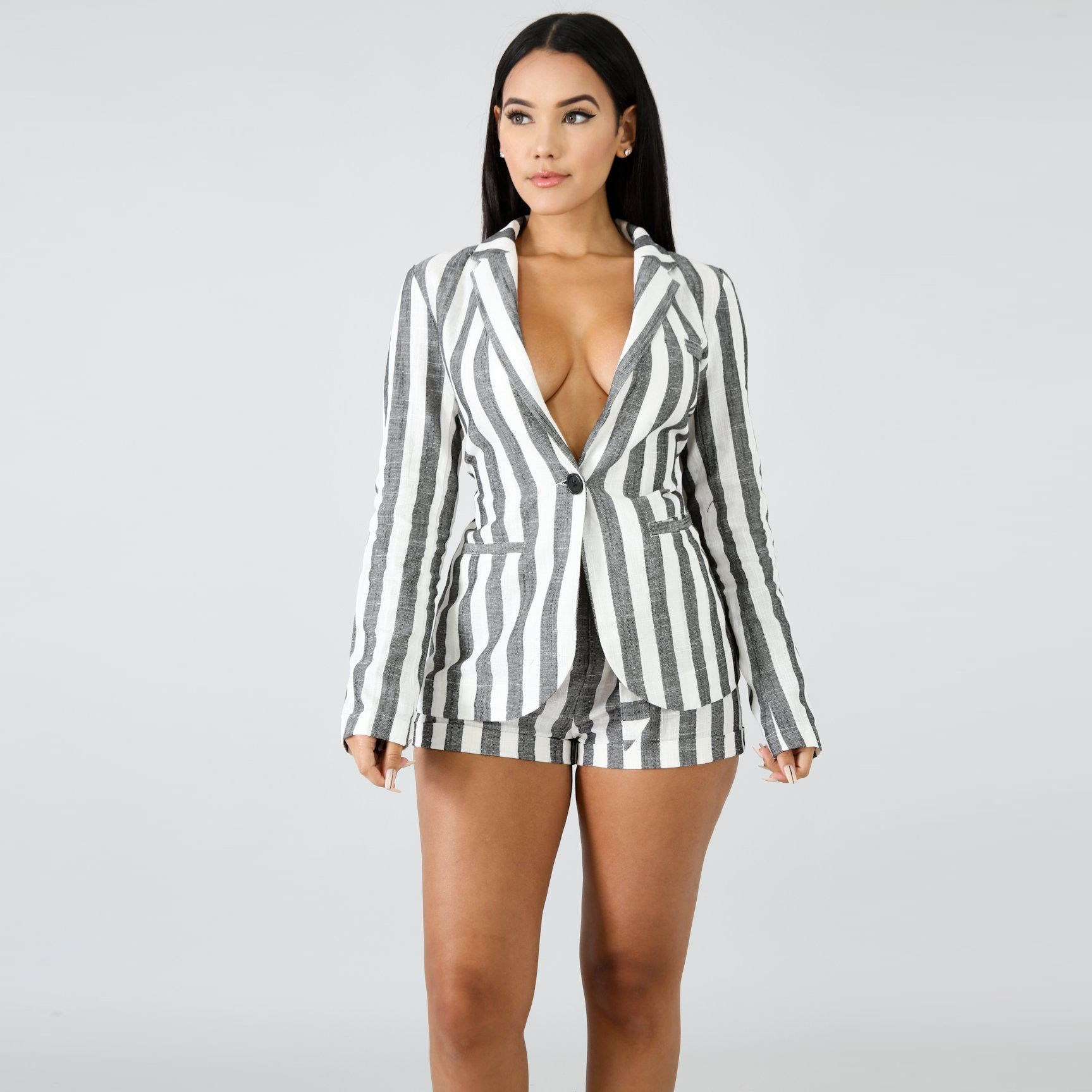Women Sexy Striped Blazer Jacket and Shorts Two Piece Set Turn Down Collar Blazer Coat Pocket Shorts Suit Work Matching Outfits in Women 39 s Sets from Women 39 s Clothing