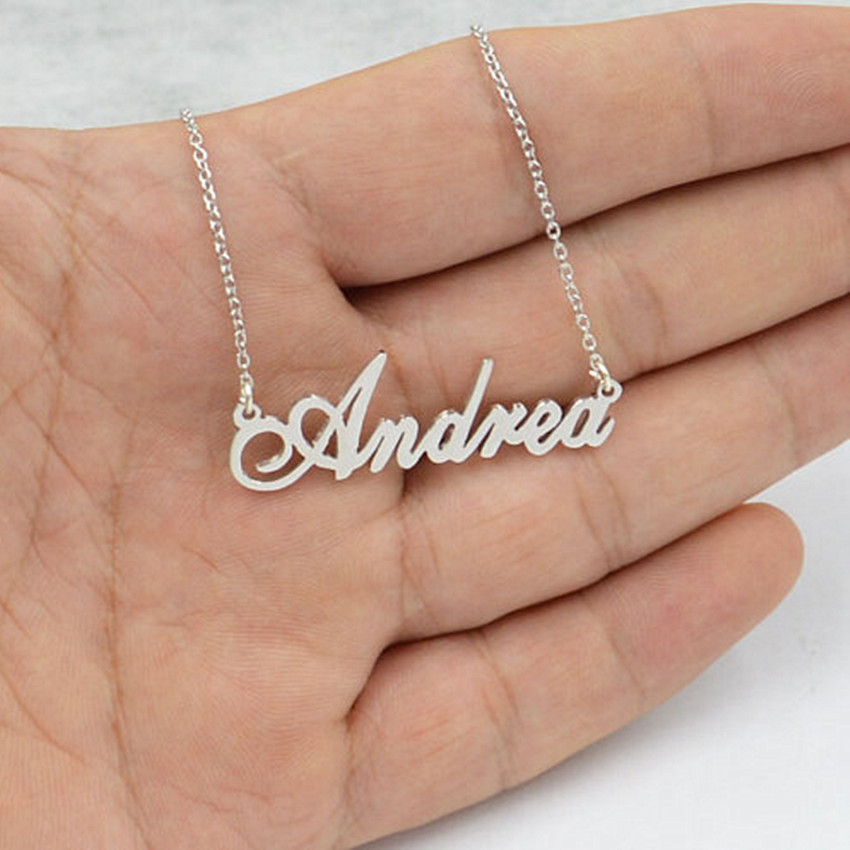 2018 BFF Bijoux Custom Personalized Name Necklace Rose Gold Signature Customized Pendant Stainless Steel Statement Colar Women
