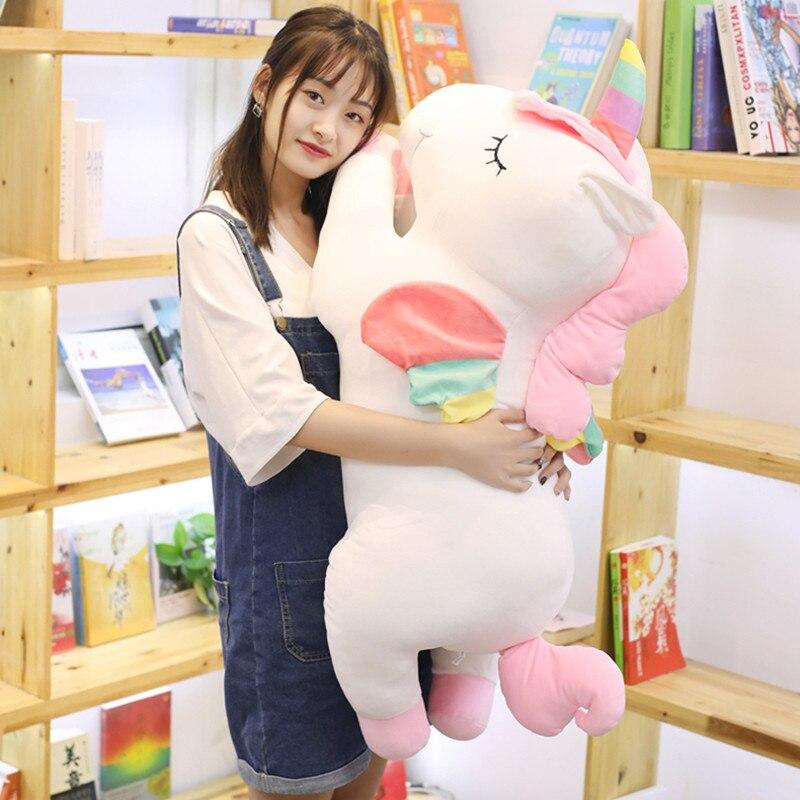 Énorme 80 cm belle licorne en peluche peluche Unicornio Animal bébé poupées doux dessin animé oreiller fille enfants cadeau de noël