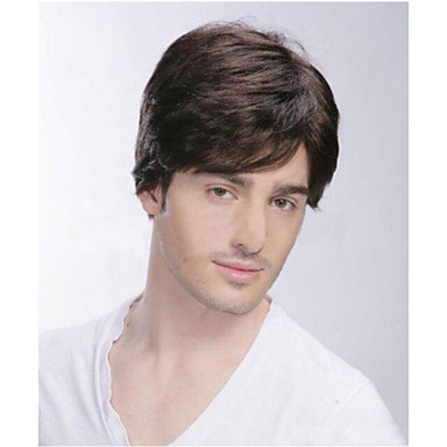 100% Настоящие Волосы Высший Сорт Качество Ху человек Волос мужские Парики 2 Цветов на Выбор + Парик Cap