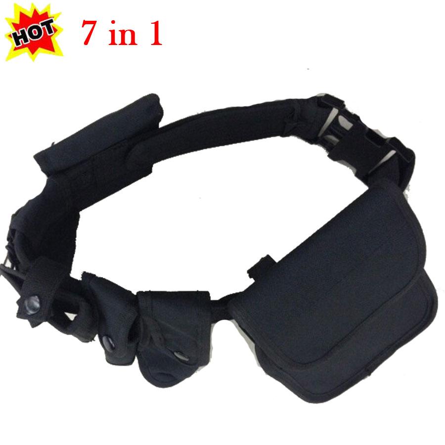 Durable Adjustable Tactical Belt EMT Cool Security Police SWAT Duty Military Belt Black Buckle Rigger Holster Magazine Pouch Set