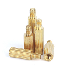 M2 Brass Male Female Standoff Knurled Round Pillar Board Threaded Mounts Spacer Pcb Motherboard Bolt Screw 3mm-35mm m2 brass male female standoff pillar mount threaded pcb motherboard pc computer round spacer hollow bolt screw long nut