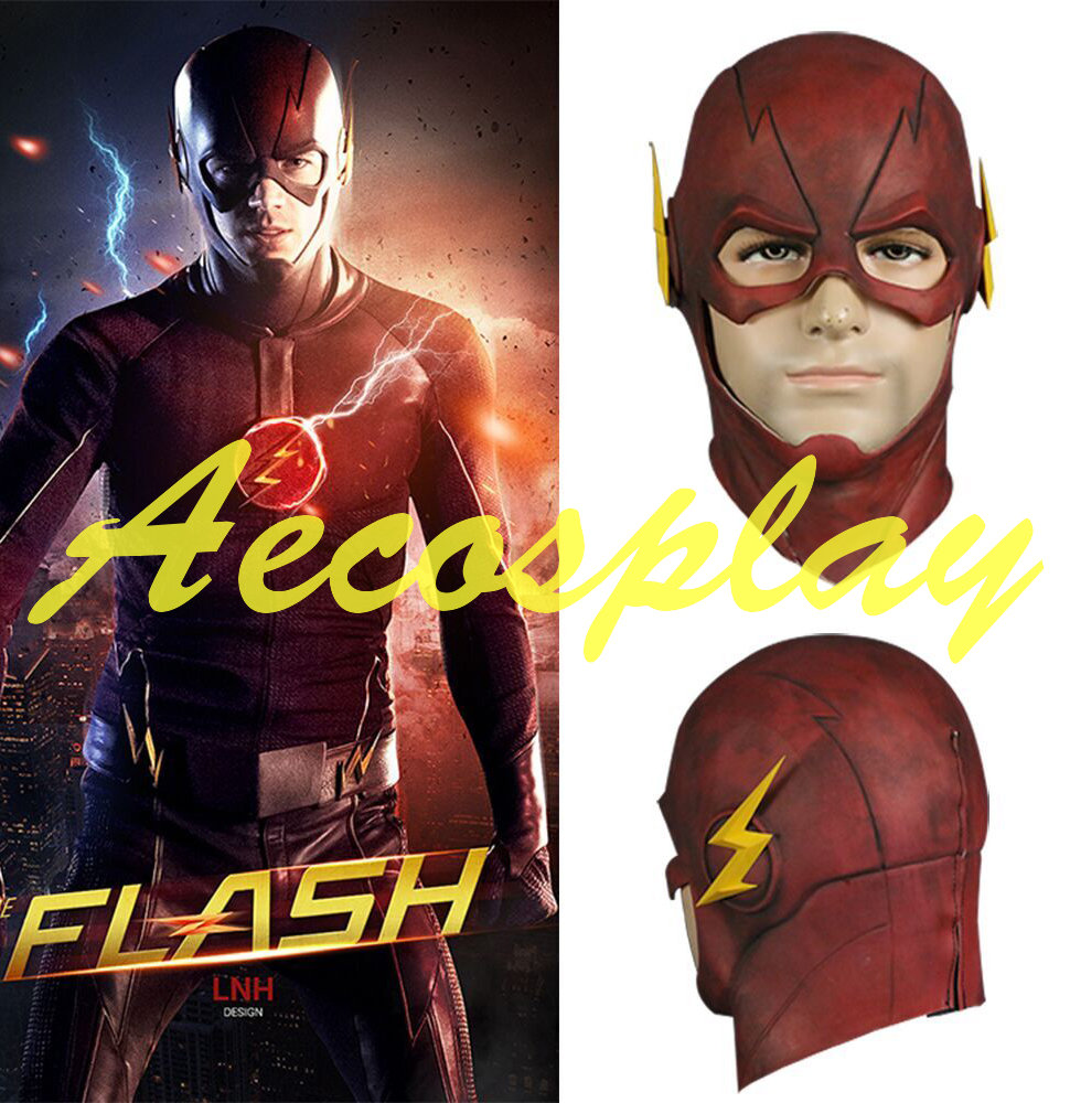 The Flash Mask DC Movie Cosplay Costume Prop Halloween Purim Full Head Latex