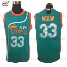 2017 Dwayne Mens Cheap throwback basketball jerseys Semi Pro Jackie Moon Jersey Flint Tropics Basketball Shirts Sewn Green White