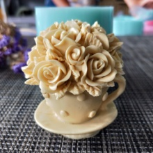 HC0120  Flower rose cup silicone mold soap mould handmade making molds candle resin clay