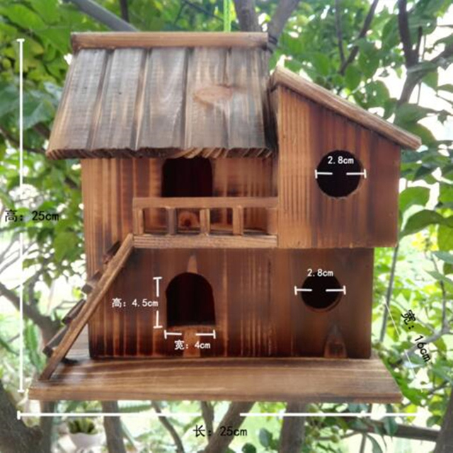25*25*16 cm Wood preservative outdoor birds nest 1
