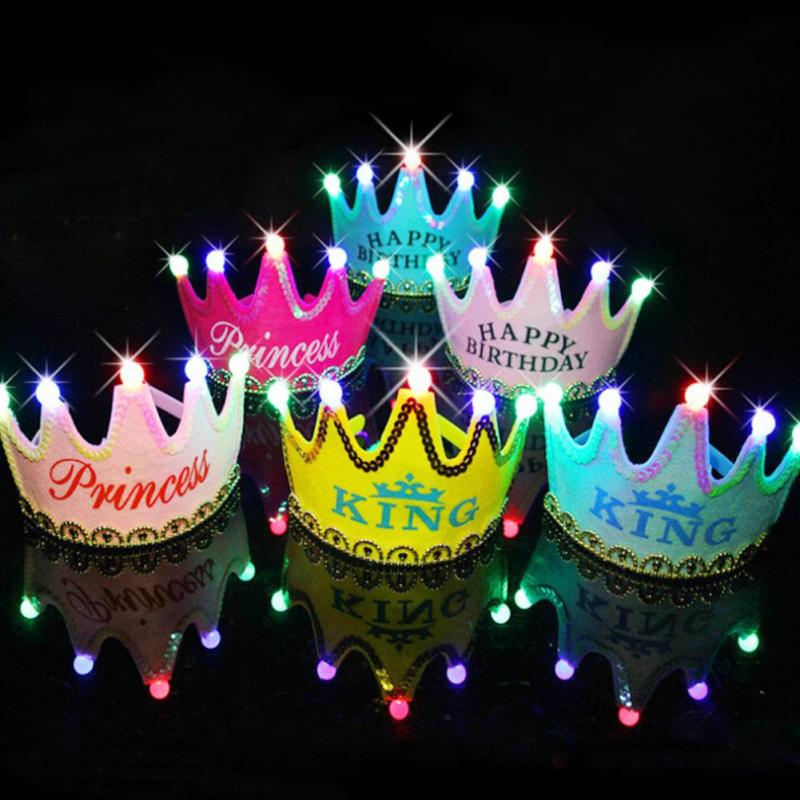 Lighting Party Hat Adult Kids Birthday Crown Cap Happy Birthday Multi Color Decorative Hats Princess Hair Band S4