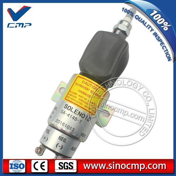 24287-01300 engine fuel shutoff solenoid SA-4148-T for Hyundai R170w-7