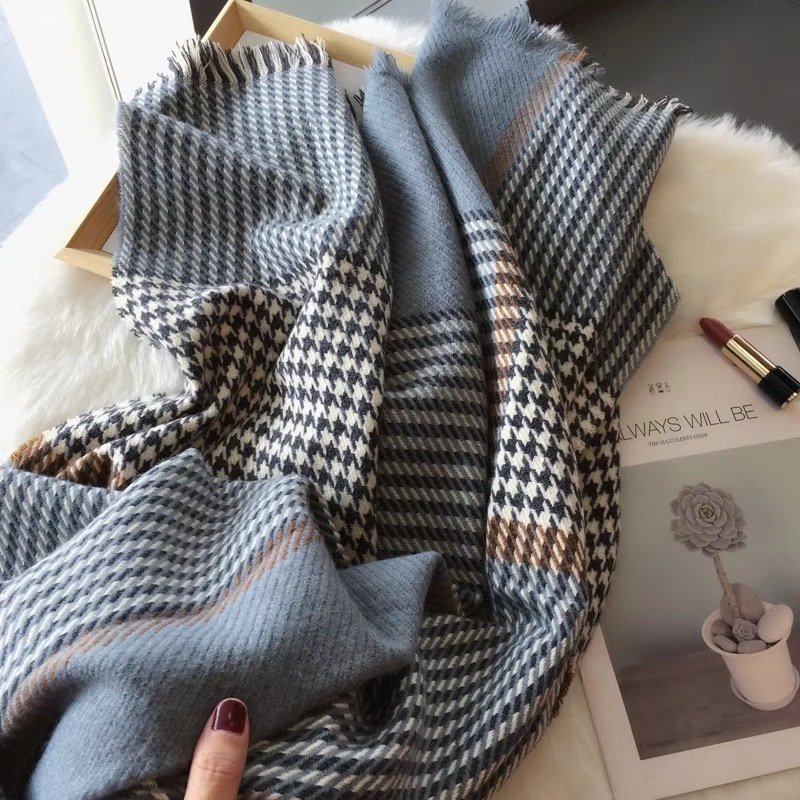 Cashmere Scarf Women 2018 Winter Scarf Men Houndstooth Print Long Warm Shawl Ladies Plaid Elegant Pashmina