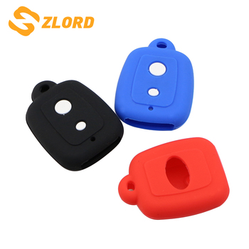 Zlord 2 Buttons Silicone Car Key Cover Case Set Protection Skin Shell Bag Fit for PERODUA Alza Viva Myvi Remote Key Holder image