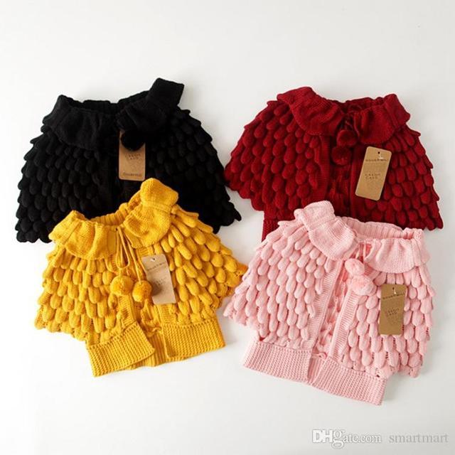 Nuevas Muchachas de Los Cabritos de Punto Suéteres Cardigan Caped Diseño Volantes Otoño Outwears Chaquetas de Invierno Al Por Mayor