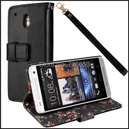Чехол для HTC один Mini M4, деревенский маленький цветок кожа с карта слоты и стойка телевизор функции + экран протектор