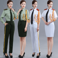Women's military uniform summer flag raising Clothing cultural troupe military Blouse + Pants Or Skirt performance Army Wear
