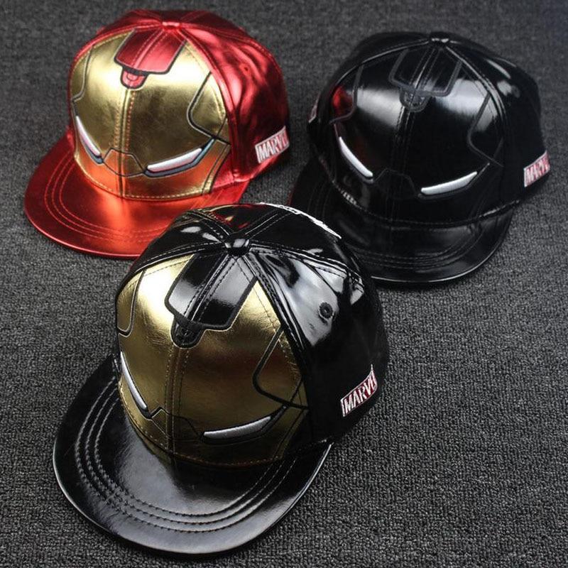 2016 Retail children   Baseball     Caps   kid Hip hop   cap   Iron Man full leather street dance Boys Girls Peaked   cap   Parent-child   caps