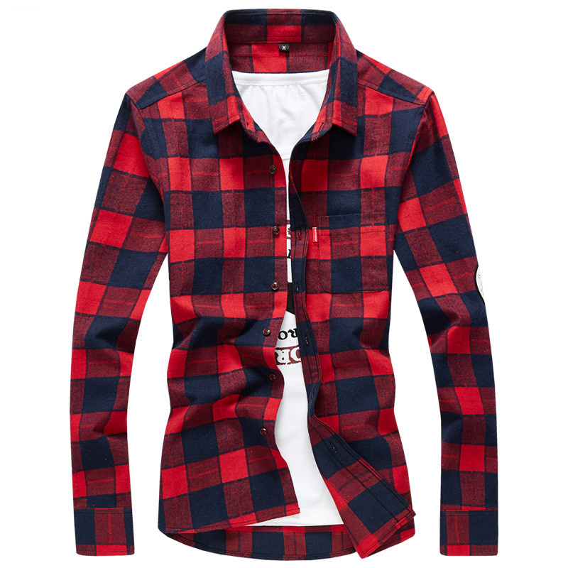 XMY3DWX products sell like hot cakes men long sleeve shirt men grid thin body hair fashion Grinding MAO casual shirt/size S-4XL 44