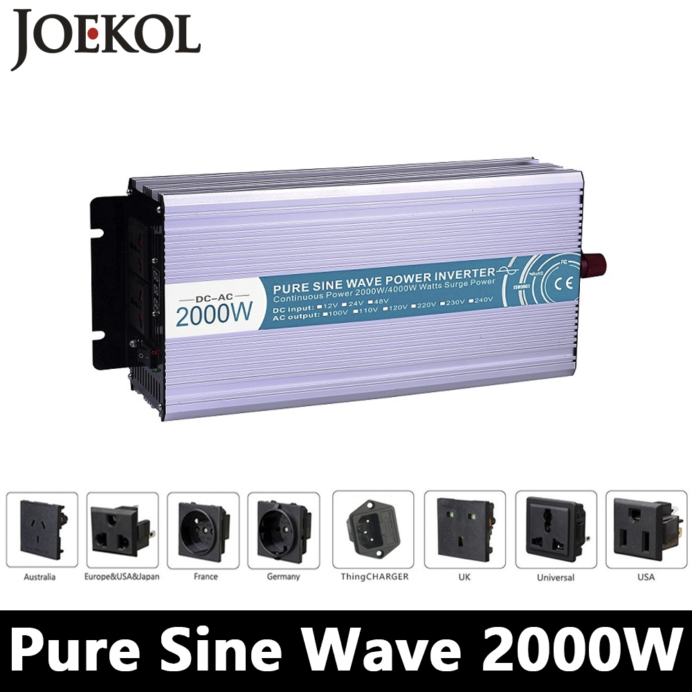 2000W Pure Sine Wave Inverter,DC 12V/24V/48V To AC 110V/220V,off Grid Power Inverter Work With Solar Wind Battery Panel maylar 22 60vdc 300w dc to ac solar grid tie power inverter output 90 260vac 50hz 60hz