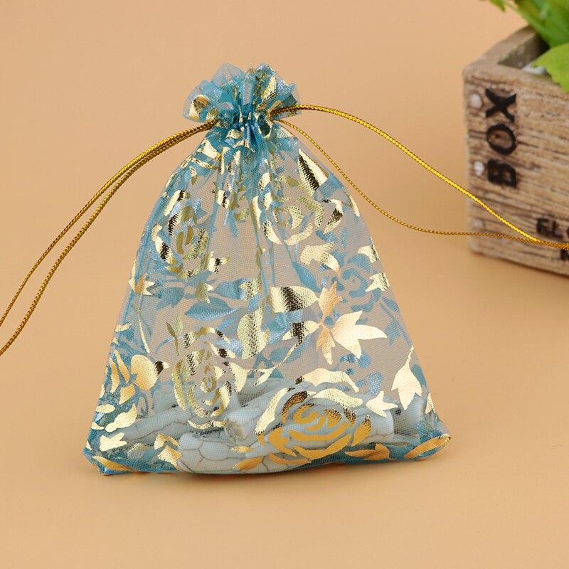 Bolsas de regalo de bolsa de joyería personalizada al por mayor 1000 pzas/unids/lote pequeña bolsa de Organza con estampado de rosas de oro 9*12 cm cordón tull bolsa de regalo-in Envase y exposición de joyería from Joyería y accesorios    3