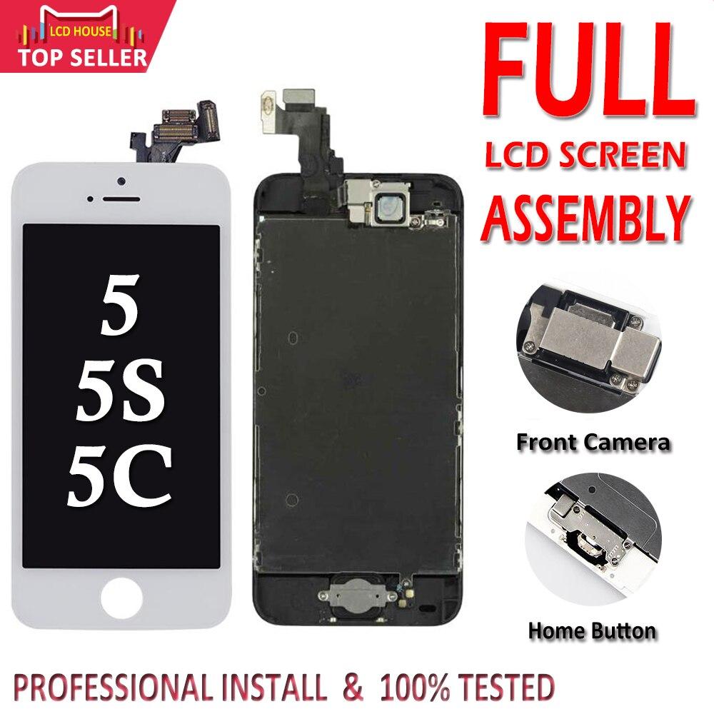 Affichage LCD complet pour iPhone 5 5C 5S 5G écran LCD tactile numériseur assemblée complète LCD remplacement approvisila + bouton d'accueil + appareil photo