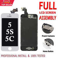 Conjunto completo de la Pantalla LCD para iPhone 5 5C 5S 5G digitalizador Pantalla LCD Pantalla táctil recambio de montaje completo de LCD Pantalla + Home + botón de la cámara