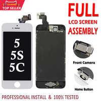 Juego completo Pantalla LCD para iPhone 5 5C 5S 5G Pantalla LCD digitalizador táctil montaje completo LCD Pantalla de repuesto + botón de inicio + Cámara